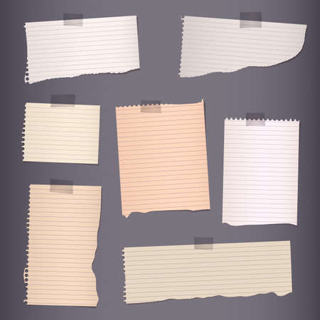 paper note: Pieces of torn brown lined note paper on dark background. Illustration