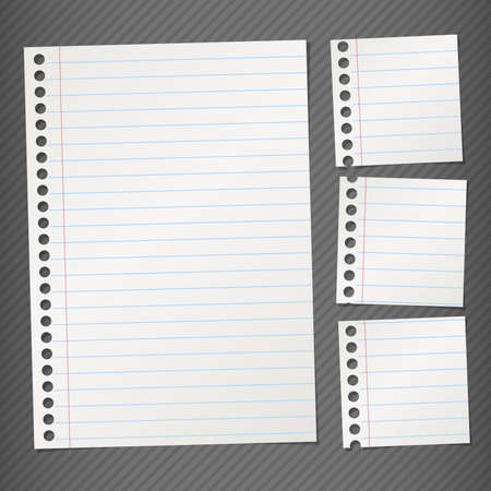 Pieces of torn gray lined note paper on gray background Illustration