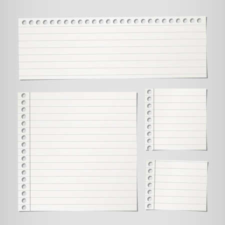 paper note: Pieces of torn gray lined note paper on gray background Illustration