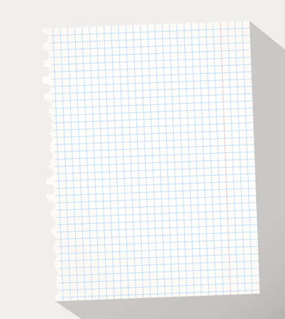 squared: Torn white squared notebook paper on gray background
