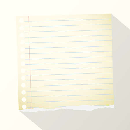 yellow notebook: Piece of torn yellow lined notebook paper on light background. Illustration