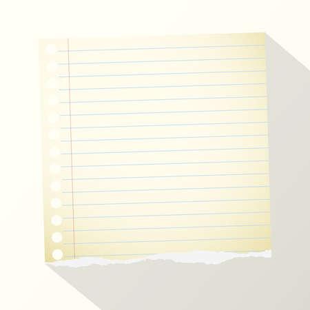 Stück torn gelben linierten Notebook-Papier auf hellem Hintergrund.