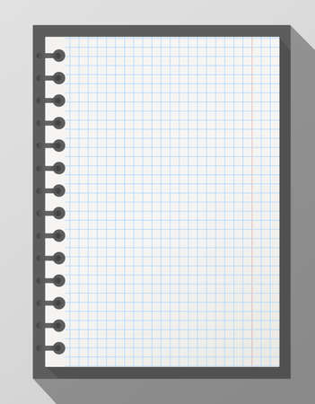 notepads: Open squared realistic notepad notebook with spiral and long shadow on gray background. Illustration
