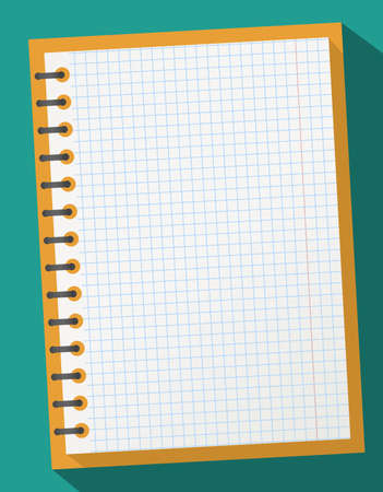 Open squared realistic notepad notebook with spiral and long shadow on turquoise background.