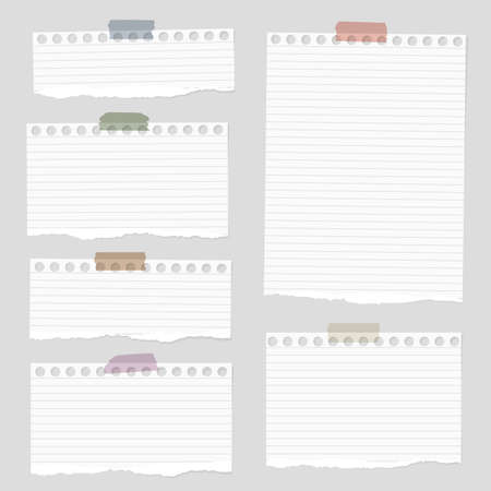 Pieces of torn white blank lined note paper with colorful sticky tape on gray background. Vettoriali