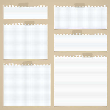Pieces of torn white lined and squared notebook paper with sticky tape on brown background. Ilustracja