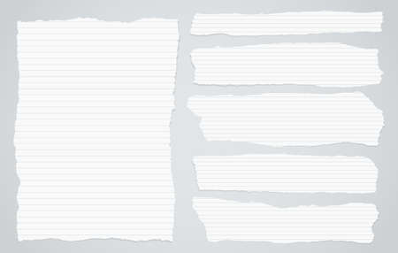 notebook paper background: Pieces of torn white lined notebook paper on gray background.