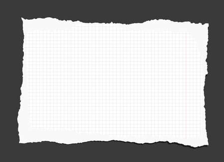 notebook paper background: Piece of torn white lined notebook paper on black background.