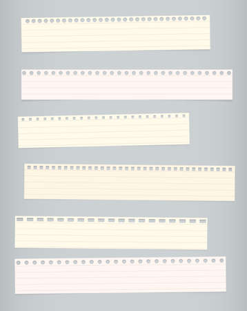 paper note: Pieces of torn colorful lined notebook, note paper on gray background