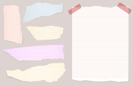 sticky paper: Pieces of torn colorful lined notebook, note paper.