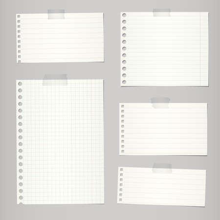 Set zerrissen Notebook-Papier mit Linien und Raster auf grauem Hintergrund. Standard-Bild - 53373405