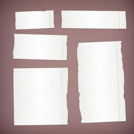 note paper background: Pieces of torn white lined note paper on brown background.