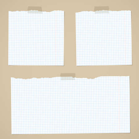 notebook paper background: Pieces of torn white squared notebook paper with sticky tape on brown background. Illustration