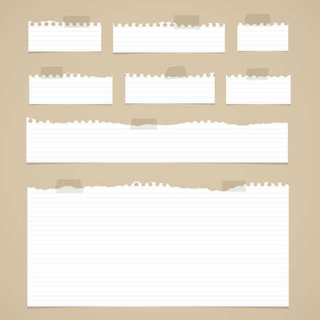 sticky: Pieces of torn white lined notebook paper with sticky tape on brown background.