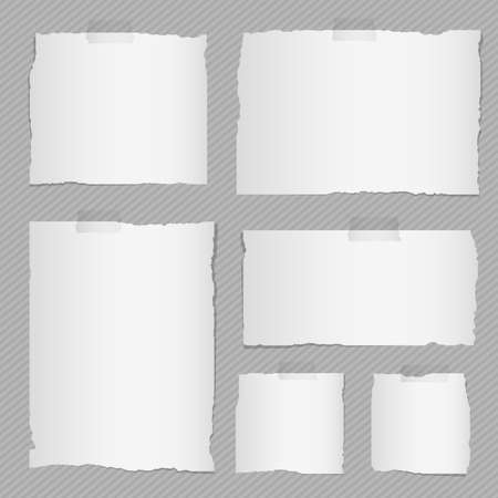 sticky: Pieces of torn white blank notebook paper with sticky tape on gray striped diagonal background. Illustration