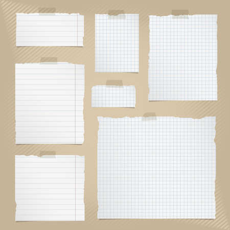 Pieces of torn white squared and lined notebook paper with sticky tape on brown striped background.