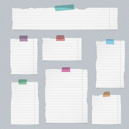 Pieces of torn lined notebook paper on squared background.