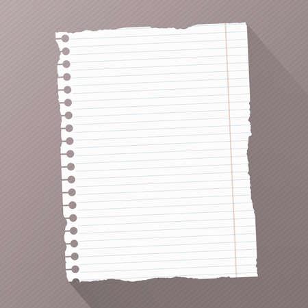 hoja en blanco: Pedazo de papel de cuaderno en blanco rayado de blanco roto en el fondo rayado diagonal oscura. Vectores