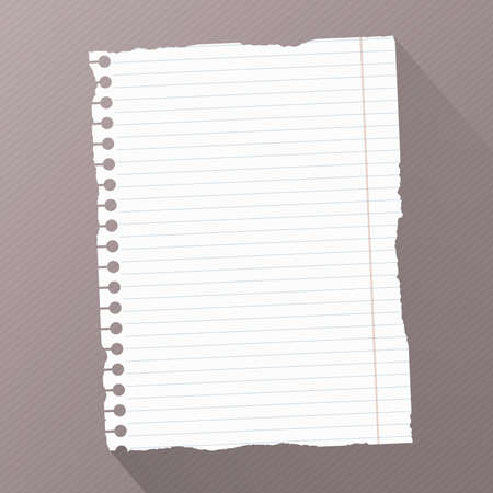 Piece of torn white blank lined notebook paper on dark striped diagonal background. Illustration