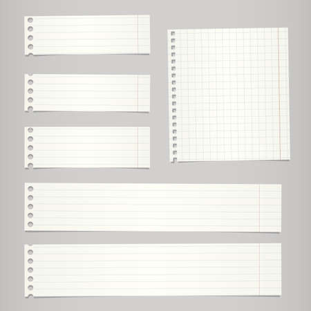 Pieces of torn white lined, squared blank notebook paper sticked on gray background. Stock Illustratie
