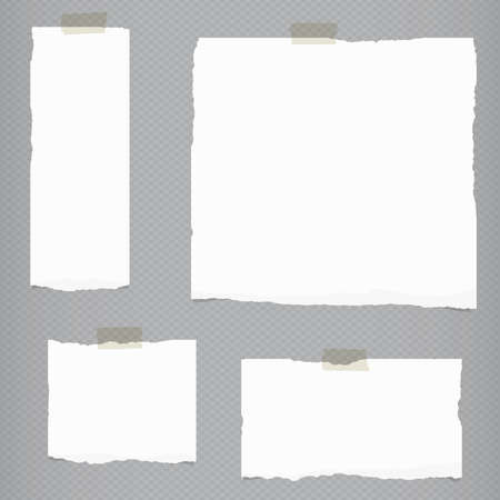 Pieces of torn white blank notebook paper with sticky tape on gray squared background.