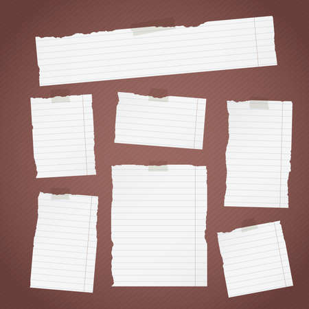 sticky tape: Pieces of torn white lined note paper with sticky tape on diagonal dark background. Illustration