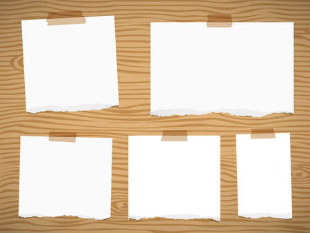 blank note: Pieces of torn white blank note paper sticked on brown wooden wall or board.