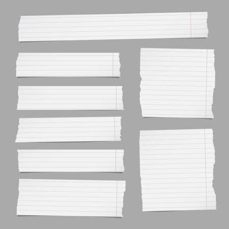 Pieces of torn white lined note paper on gray background.