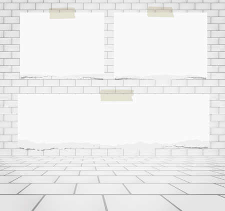 old square: Pieces of torn white blank note paper sticked on white brick wall.