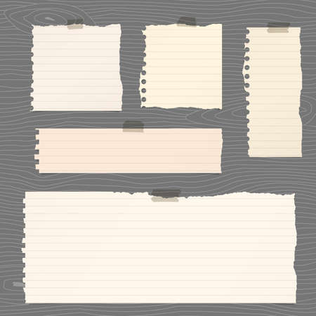 note board: Pieces of torn brown lined note paper sticked on gray wooden wall or board.