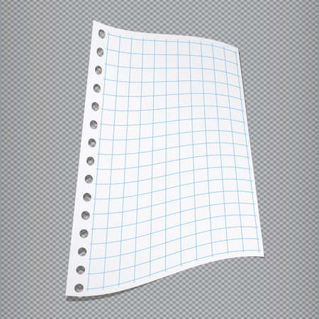 notebook paper background: White blank folded squared notebook paper on gray fabric background. Illustration