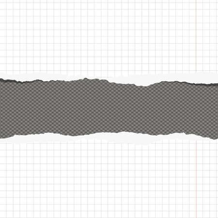 margen: Los pedazos de papel blanco roto al cuadrado portátil con margen y el espacio de la copia pegada en el fondo gris.