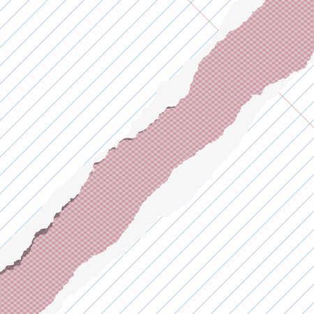 margen: Los pedazos de papel blanco roto al cuadrado portátil con margen y el espacio de la copia pegada en el fondo de color rosa.