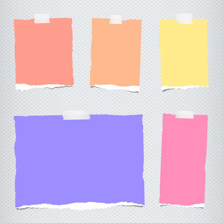 blank note: Pieces of torn colorful blank note paper sticked on gray squared pattern.