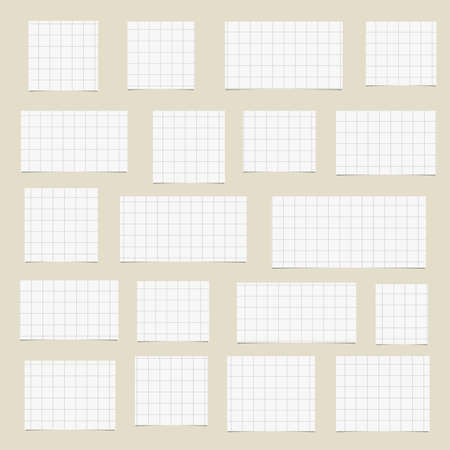 blank note: Pieces of torn white squared blank note paper sticked on brown background. Illustration