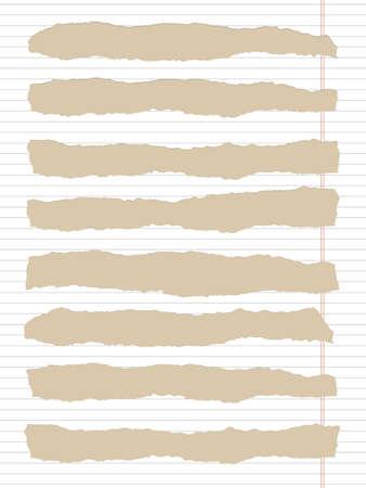margen: Blanco rasgado forrado de papel cuaderno con margen y el espacio de la copia, pegado en el fondo de color marr�n claro.