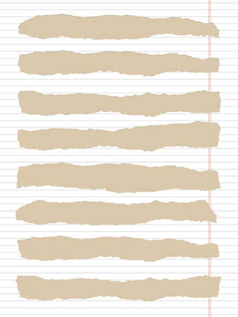 margin: Torn white lined notebook paper with margin and copy space, sticked on light brown background. Illustration