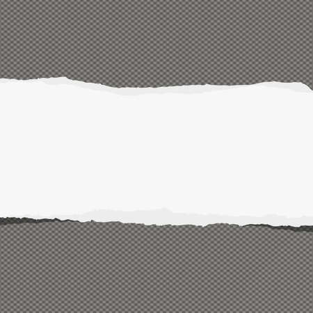 note paper background: Piece of torn white note paper with copy space sticked on dark gray background. Illustration