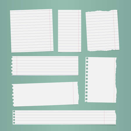 Pieces of torn white lined notebook paper sticked on turquoise background. Stock Illustratie