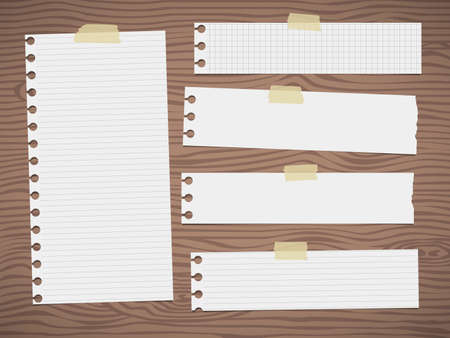 wooden cut: Pieces of cut white lined, squared note paper is sticked on brown wooden wall or desk.