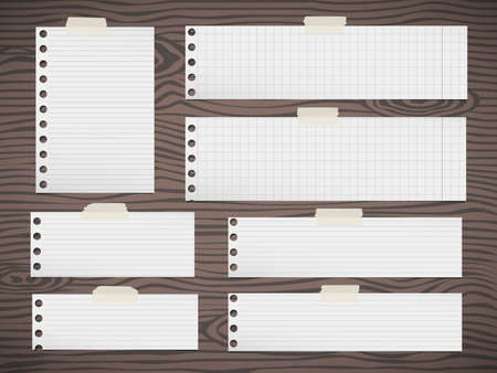square tape: Pieces of white squared, lined note paper sticked on brown wooden wall or desk. Illustration