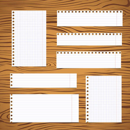 square tape: Pieces of white lined, squared notebook paper sheet sticked on brown wooden wall or desk.