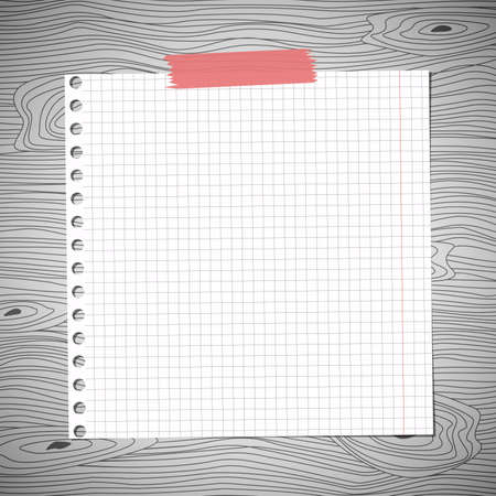 square tape: White squared notebook paper sheet, sticked on gray wooden wall, desk. Illustration