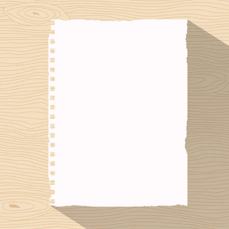 desk light: Piece of ripped white notebook paper is sticked on light brown wooden wall or desk. Illustration