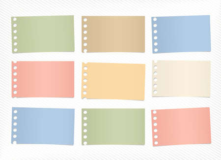 blank note: Pieces of colorful blank note paper sticked on striped diagonal background.