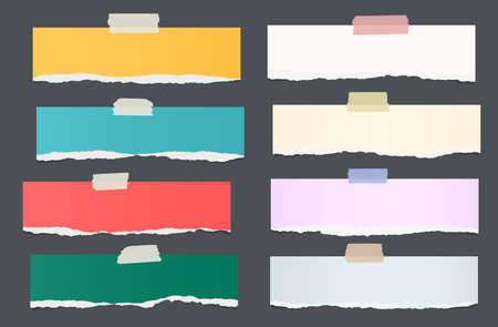 note paper background: Set of ripped colorful note paper pieces are stuck on dark background. Illustration