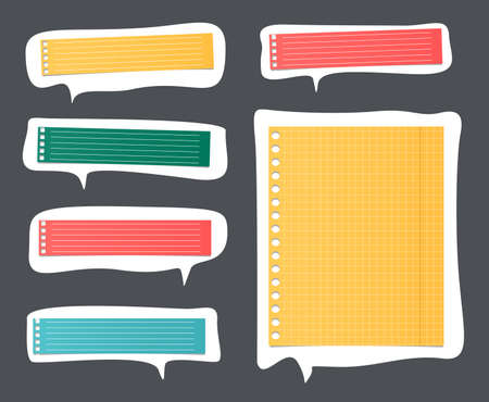 Pieces of cut colorful lined notebook paper on white speech bubbles. Illustration