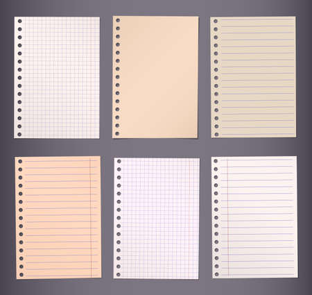 notebook paper background: Brown lined and squared notebook paper are stuck on dark background.