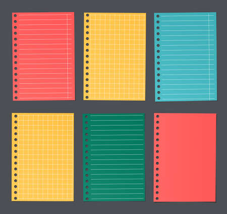 notebook paper background: Bright colorful lined and squared notebook paper are stuck on dark background.