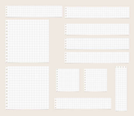 light brown: Pieces of cut out white squared notebook paper are stuck on light  brown background. Illustration